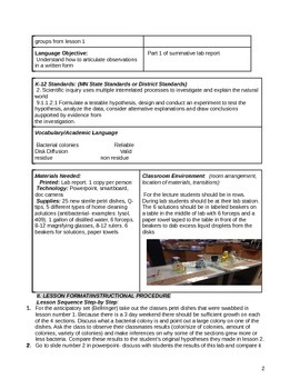 Transferring Bacterial Colonies Lab Lesson Plan