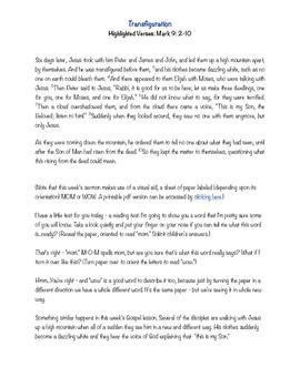 Transfiguration Children's Sermon/Activity