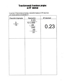 Transformando una fracción en número decimal
