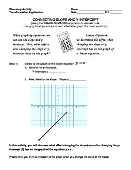 Transformation Application - Connecting Slope and Y-intercept.