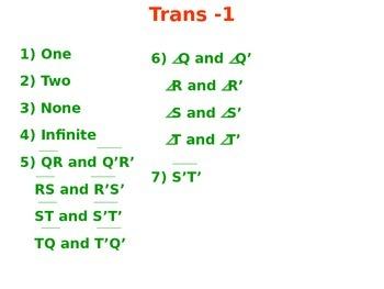 Transformation Chapter Homework Keys