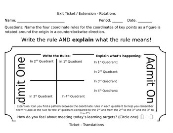 Geometric Transformations Exit Ticket