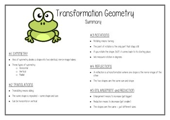 Transformation Geometry Worksheet Pack
