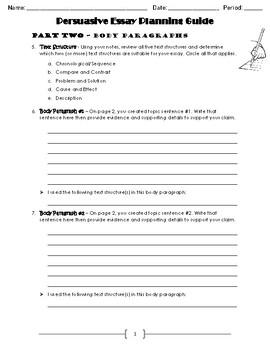 Persuasive Essay Planning Guide