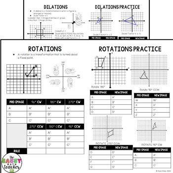 Transformation Notes and Practice Foldable Interactive Notebook
