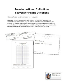 Transformation: Reflections - Scavenger Puzzle