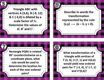 Transformation Task Card Set - Great unit or STAAR Review