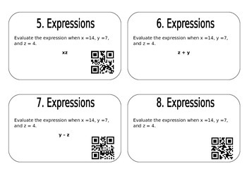 Expressions Task Cards with QR Codes
