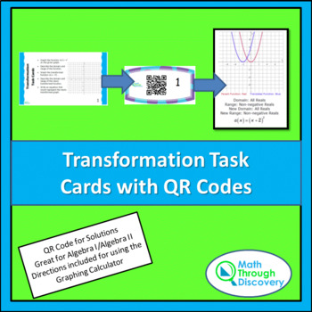 Algebra 1 and 2:  Transformation Task Cards with QR Codes