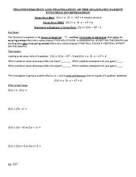 Transformation and Translation of Quadratic Parent Functio