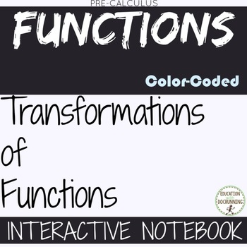 PreCalculus Transformation of Functions Color and Black and White Notes