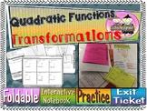 Transformation of Quadratic Functions Foldable, INB, Practice, Exit