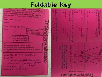 Transformation of Quadratic Functions Foldable, INB, Practice, Exit
