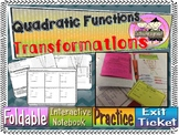 Transformation of Quadratic Functions Foldable, INB, Pract