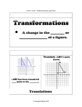 Transformational Geometry - (8th Grade Math TEKS 8.3A-C and 8.10A-D)
