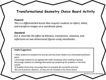 Transformational Geometry Choice Board Activity