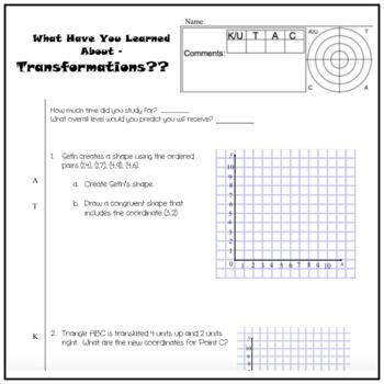Transformational Geometry Math Unit Test - assessment