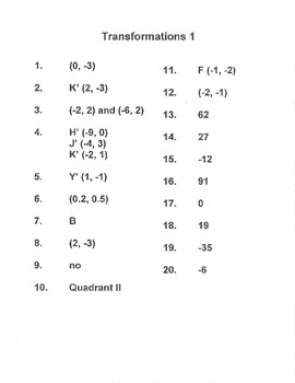 Algebra:  Transformations 1