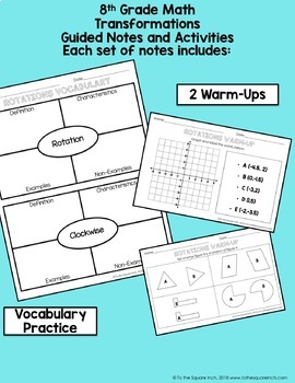 Transformations- 8th Grade Math Guided Notes and Activities