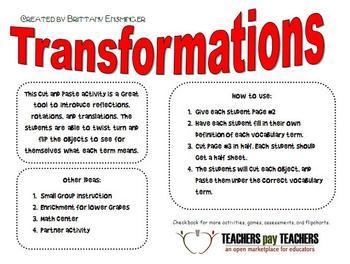 Transformations Activity: FREEBIE!