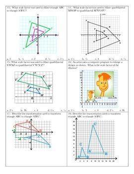 Transformations Assessment ~ 8th Grade Math