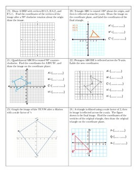 Transformations Assessment ~ 8th Grade Math