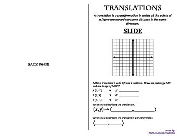 Transformations Booklets (Reflection, Translation, Rotation, Dilation)
