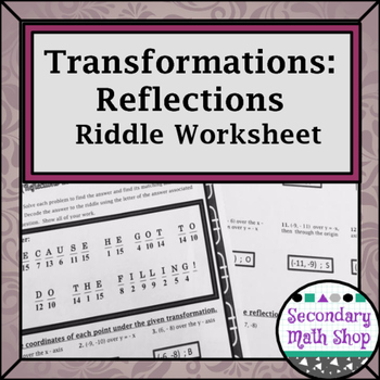 Transformations:  Coordinate Plane Reflections Riddle Prac