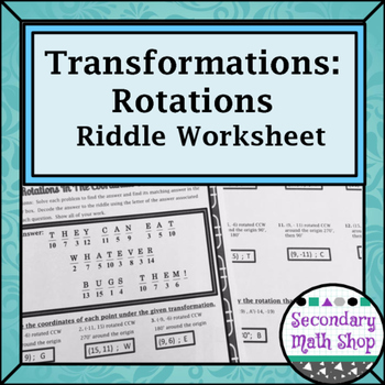 transformations coordinate plane rotations riddle practice worksheet. Black Bedroom Furniture Sets. Home Design Ideas