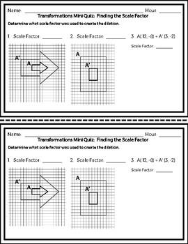 Transformations - Coordinate Plane and Non -  Unit Mini-Quizzes