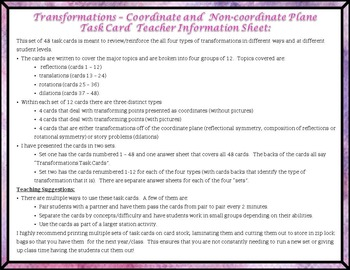 Transformations:  Coordinate and Non-Coordinate Plane Task Cards!!!