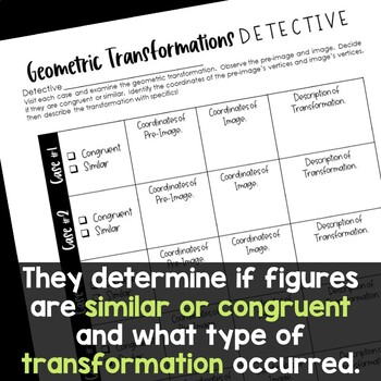 Transformations Detective Math Centers Activity