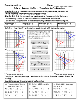 Transformations: Dilate, Rotate, Reflect, Translate & Combos-  8.G.3 and 8.G.4