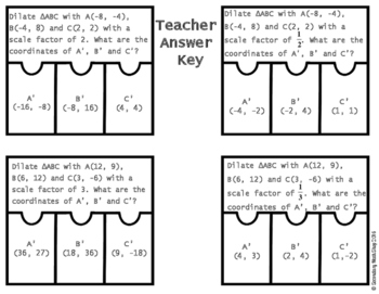 Transformations:  Dilations Cut, Paste, Solve, Match Puzzle Activity