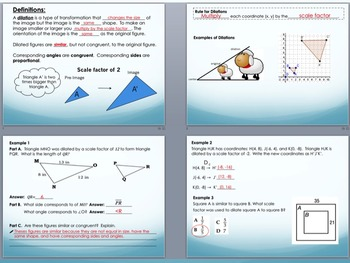 Transformations: Dilations Foldable for Interactive Notebook PowerPoint