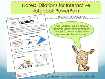 Transformations: Dilations Foldable for Interactive Notebo