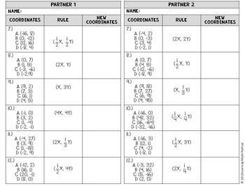 Transformations (Dilations) Partner Matching Activity