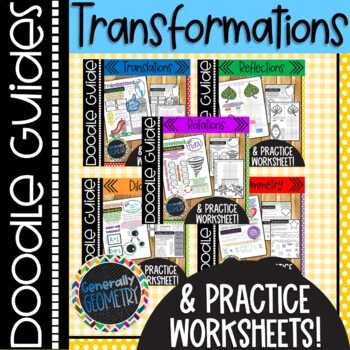 Transformations Doodle Notes; Geometry, Reflections, Rotations