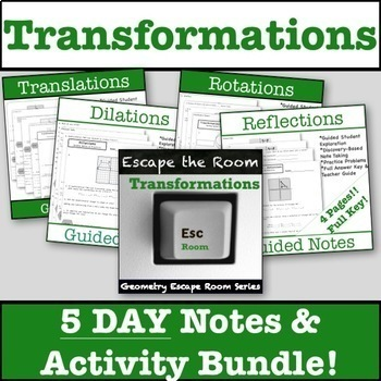 Transformations Escape Room & Guided Notes Bundle!!