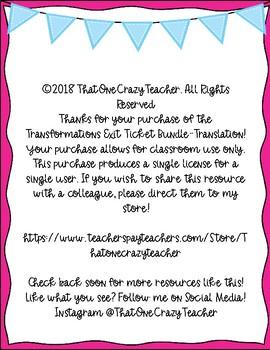 Transformations Exit Ticket Bundle-Translations Freebie