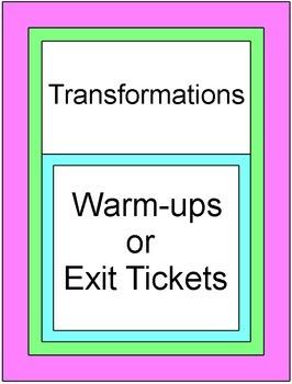 Transformations - Exit/Entrance Tickets (10 tickets)