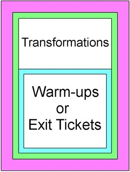 Transformations - Exit/Entrance Tickets (10 tickets)