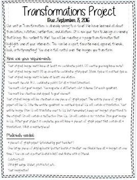 Transformations-Final Project, Junior High, Math Transformations Project