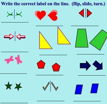 transformations flip slide or turn math smartboard lesson tpt