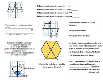 Transformations Foldable (Reflection, Translation, Rotation, and Dilation)