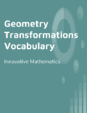 Transformations: Geometry Vocabulary Cards (English, Spanish & Portuguese)