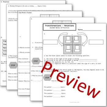 Transformations Notes Bundle - Translations Rotations Dilations Reflections