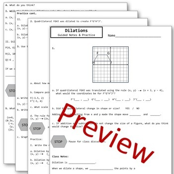 Transformations Translations, Rotations, Reflections, Dilations Notes Bundle!