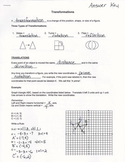 Transformations Guided Notes:  Reflections, Rotations, & T