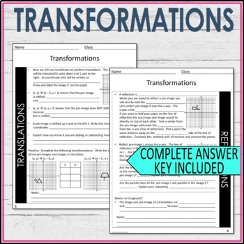 Transformations Guided Notes - Transformations Notes